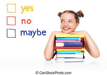 escola, tentando, fazer, menina, decisão