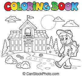 escola, tinja livro, 7, desenhos animados