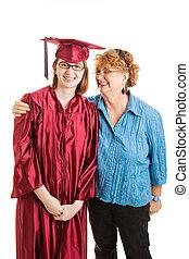 escola, vertical, orgulhoso, graduado, alto, mãe