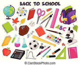 escola, vetorial, cobrança, objetos