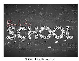 escola, vetorial, costas, ilustração