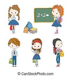 escola, vetorial, grupo, crianças, ilustração
