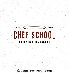 escola, vindima, cozinhar, ilustração, emblem., culinário, vetorial, retro, denominado, classes, logo.