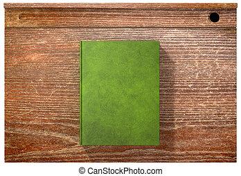 escola, vindima, topo, escrivaninha, livro, fechado, em branco