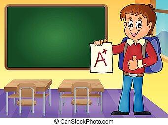 escolar, con, ventaja, grado