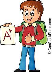 escolar, con, ventaja, grado, tema, 1