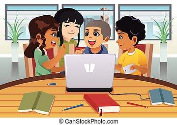 escolares, alrededor, trabajando, computadora de computadora...