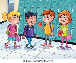escolares, armarios, posición, pasillo
