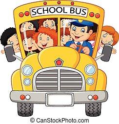 escolares, caricatura, equitación, un, escuela