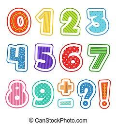 escolares, coloreado, clipart, alfabeto, aislado, numbers., diversión, vector, texto, ilustraciones, caricatura