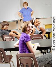 escolares, en la clase