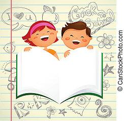 escolares, -, espalda, libro, abierto