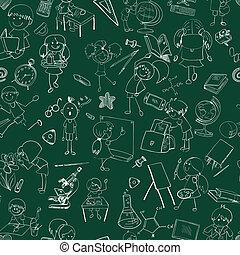 escolares, garabato, bosquejo, seamless