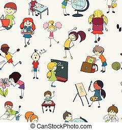 escolares, garabato, seamless, patrón