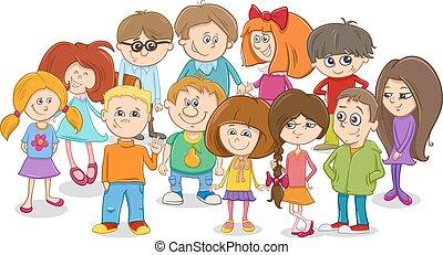 escolares, grupo, caricatura