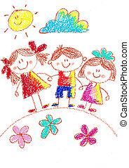 escolares, school., drawing., espalda, carboncillo, kindergarten., playground., illustration., feliz, niños, image.