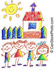 escolares, school., drawing., imagen, espalda, carboncillo, kindergarten., playground., feliz, niños, illustration.