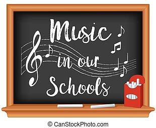 escolas, nosso, música, chalkboard
