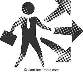escolha, -, homem negócios, halftone, ícone