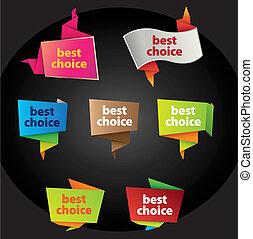 escolha, melhor, etiquetas