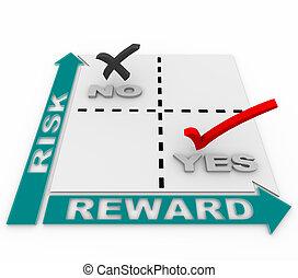 escolha objectivos, matriz, -, quadrante, vs, recompensa,...