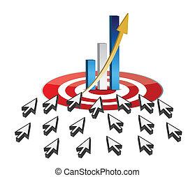 escolha objectivos, negócio, sucesso, online