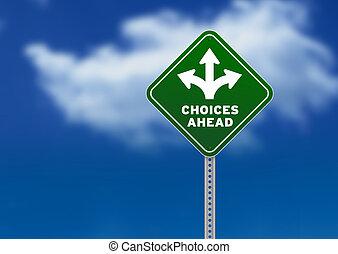 escolhas, à frente, sinal estrada