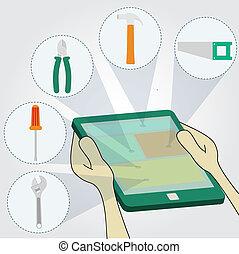 escolher, ferramentas, ligado, tabuleta