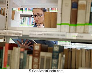 escolher, mulher, livro, biblioteca