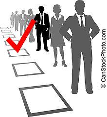 escolher, pessoas negócio, selecione, recursos, caixa
