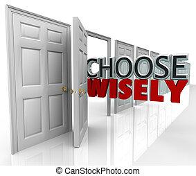 escolher, sabiamente, muitos, portas, melhor, seleção