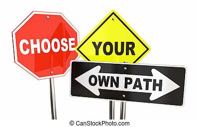 escolher, seu, próprio, caminho, decidir, que, maneira, sinais, 3d, ilustração