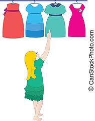 escolher, vestido, vetorial