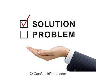escolhido, mão, solução, homem negócios