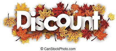 escompte, bannière, leaves., érable
