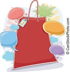 escompte, cadre, achats, fond, sac