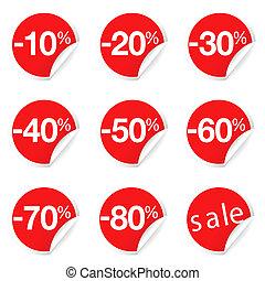 escompte, promotion, étiquettes, vente, rouges