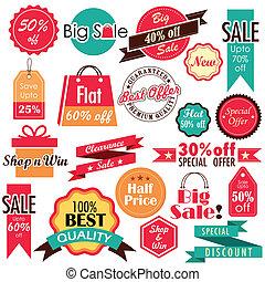 escompte, vente, étiquettes