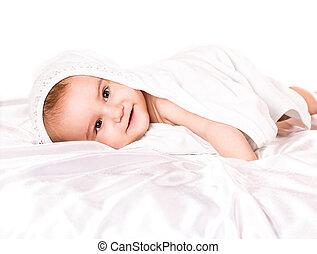 escondendo, bebê, sob, menino, cobertor, branca