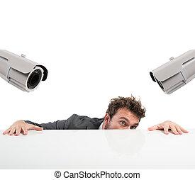 escondendo, por, a, monitorando, circuito