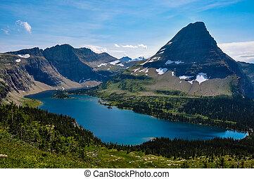 escondido, lago, rastro, parque nacional del glaciar,...