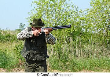 escopeta, apuntar, cazador