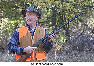 escopeta, caza, hombre