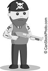 escopeta, wield, ilustración, gángster, vector, diseño