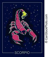 escorpião, céu, sinal, experiência., noturna, signos