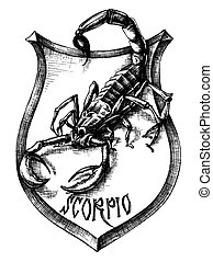 escorpião, heráldica, escorpião, zodiacal, sinal