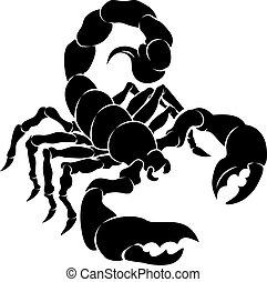 escorpião, stylised, ilustração