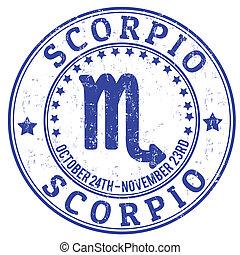 escorpión, estampilla, zodíaco, grunge