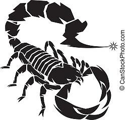 escorpión, negro