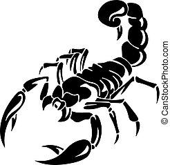 escorpión, silueta, plano de fondo, negro, blanco